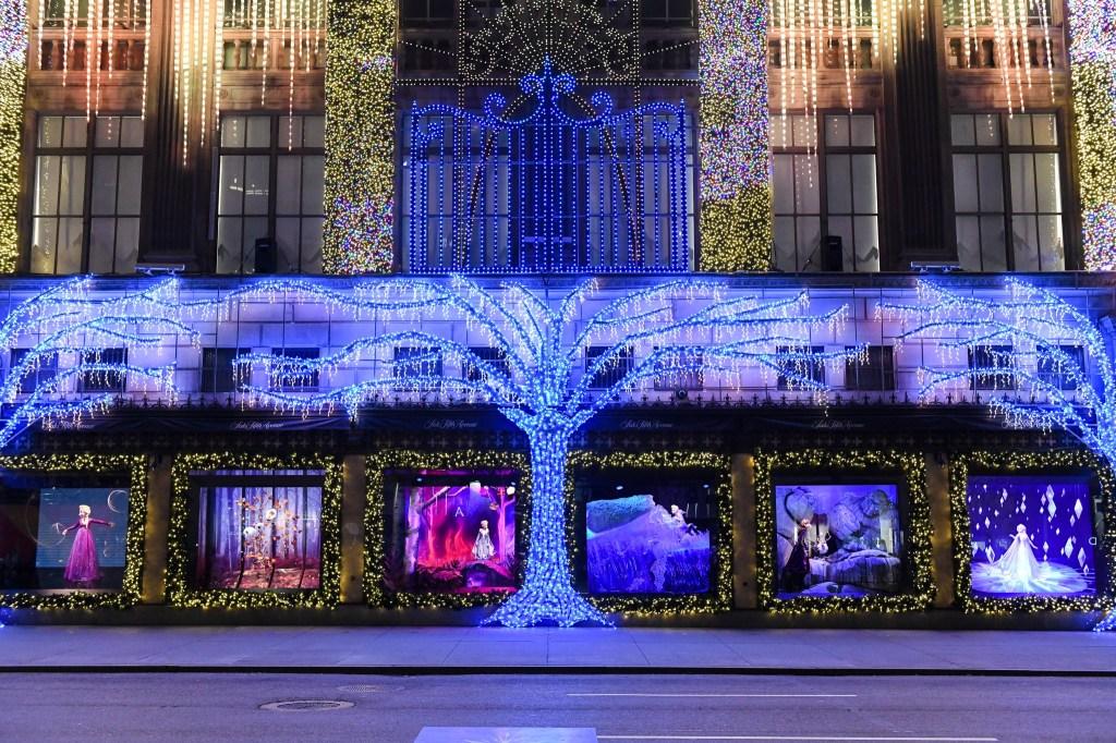 Saks' Frozen themed holiday window.