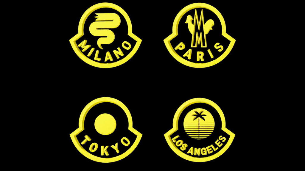 The dedicated city crests that will appear on a selection of products showcased in the Moncler House of Genius pop-up stores.