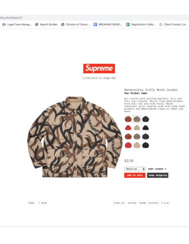 ASAT targeted Supreme clothing bearing a camo print design it claims it owns the rights to.