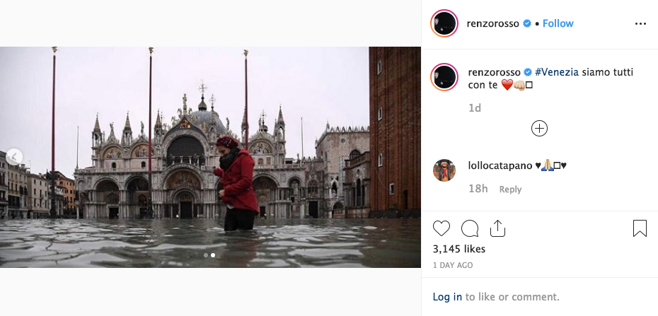 "Renzo Rosso's Instagram post with caption reading ""#Venice, we are all with you"""