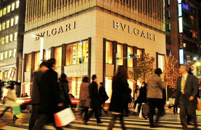 TOKYO, JAPAN - DECEMBER 28, 2011: Bvlgari store in Ginza, one of the most luxurious shopping district in the world; Shutterstock ID 200810729; Usage (Print, Web, Both): both; Issue Date: 28 nov; Comments: wwd