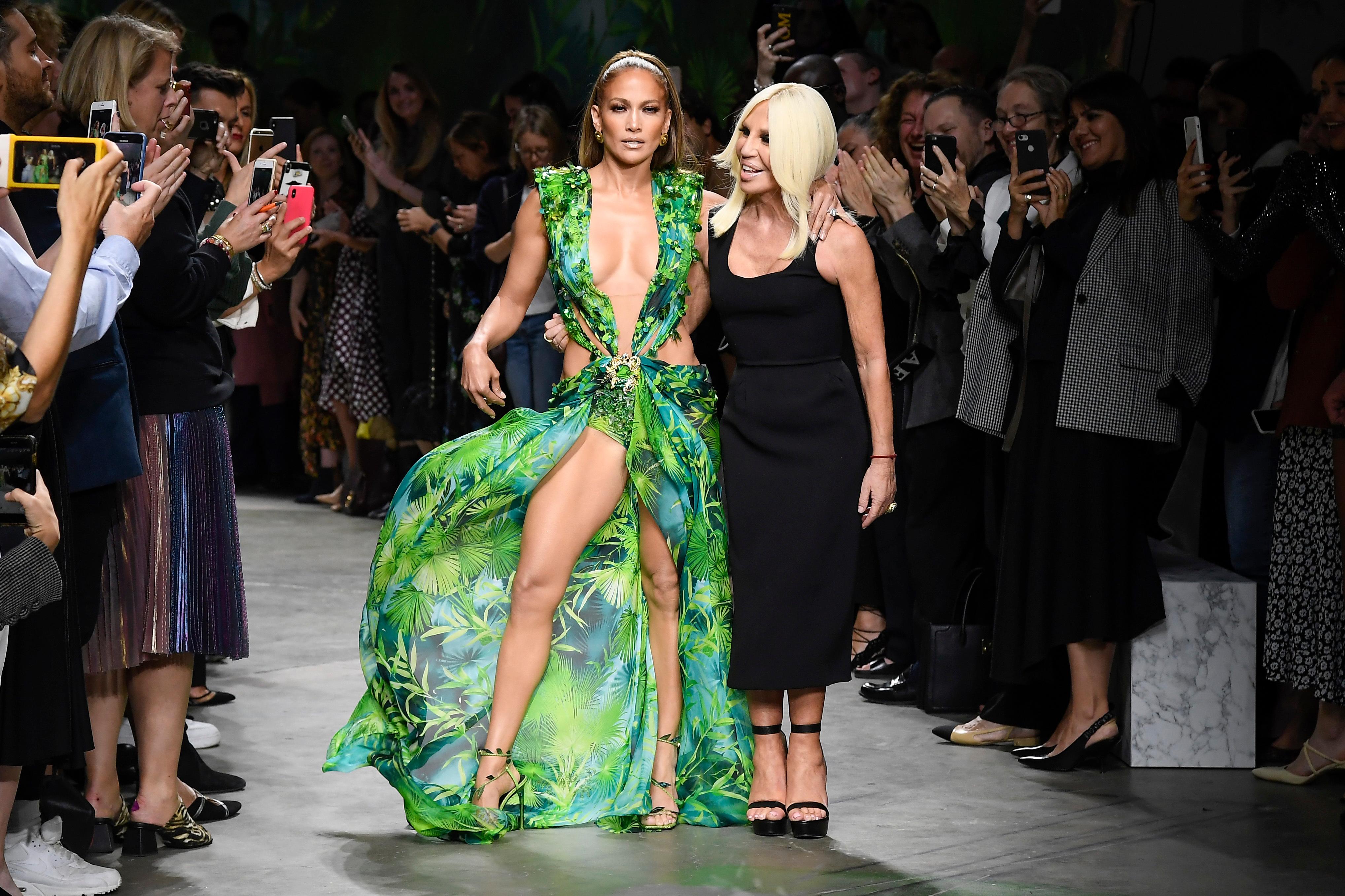 Jennifer Lopez and Donatella Versace on the Versace show.