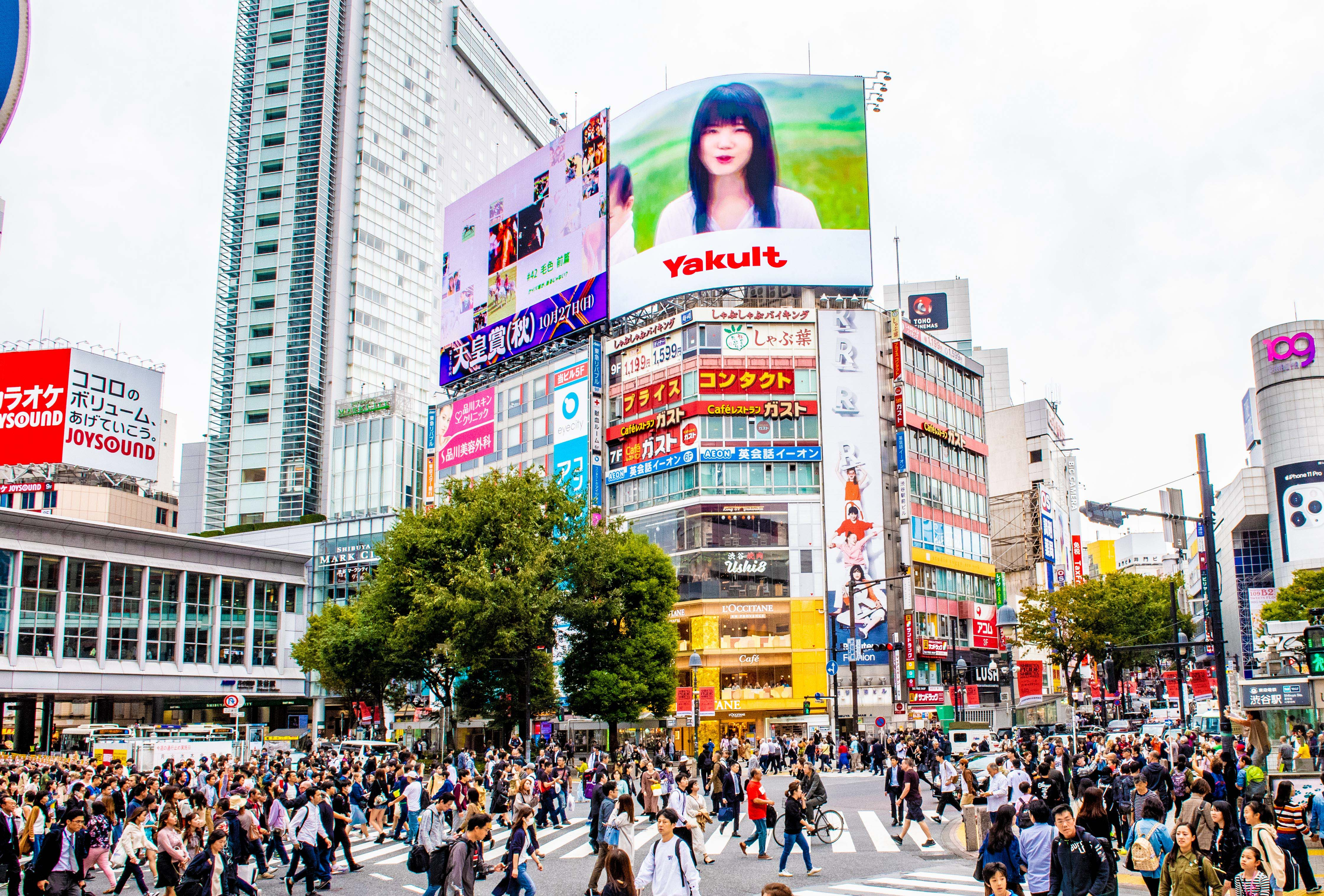 Shibuya Crossing in Tokyo, the busiest intersection in the world.