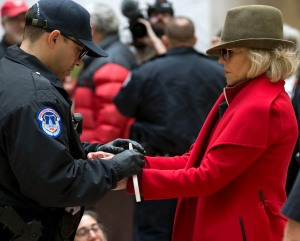 Actress and activist Jane Fonda, is arrested by U.S. Capitol police at Hart Senate Office Building as she and other demonstrators called on Congress for action to address climate change, on Capitol Hill in Washington,. A half-century after throwing her attention-getting celebrity status into Vietnam War protests, Fonda is now doing the same in a U.S. climate movement where the average age is 18Climate Protest Fonda, Washington, USA - 01 Nov 2019