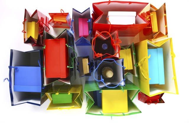 Colorful shiny paper bags and gift boxesVARIOUS