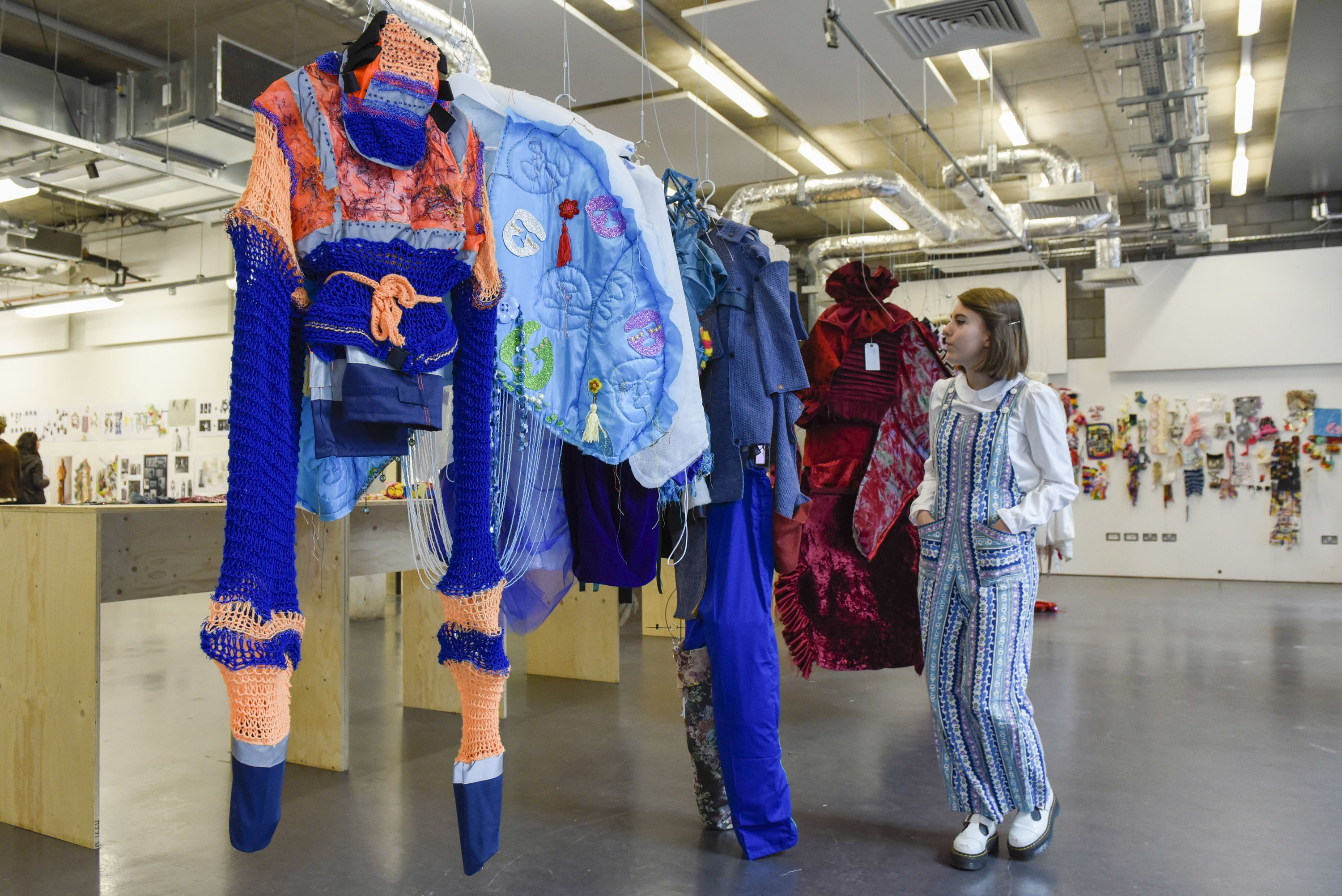 Colourful garments on display by Central Saint Martins foundation students.