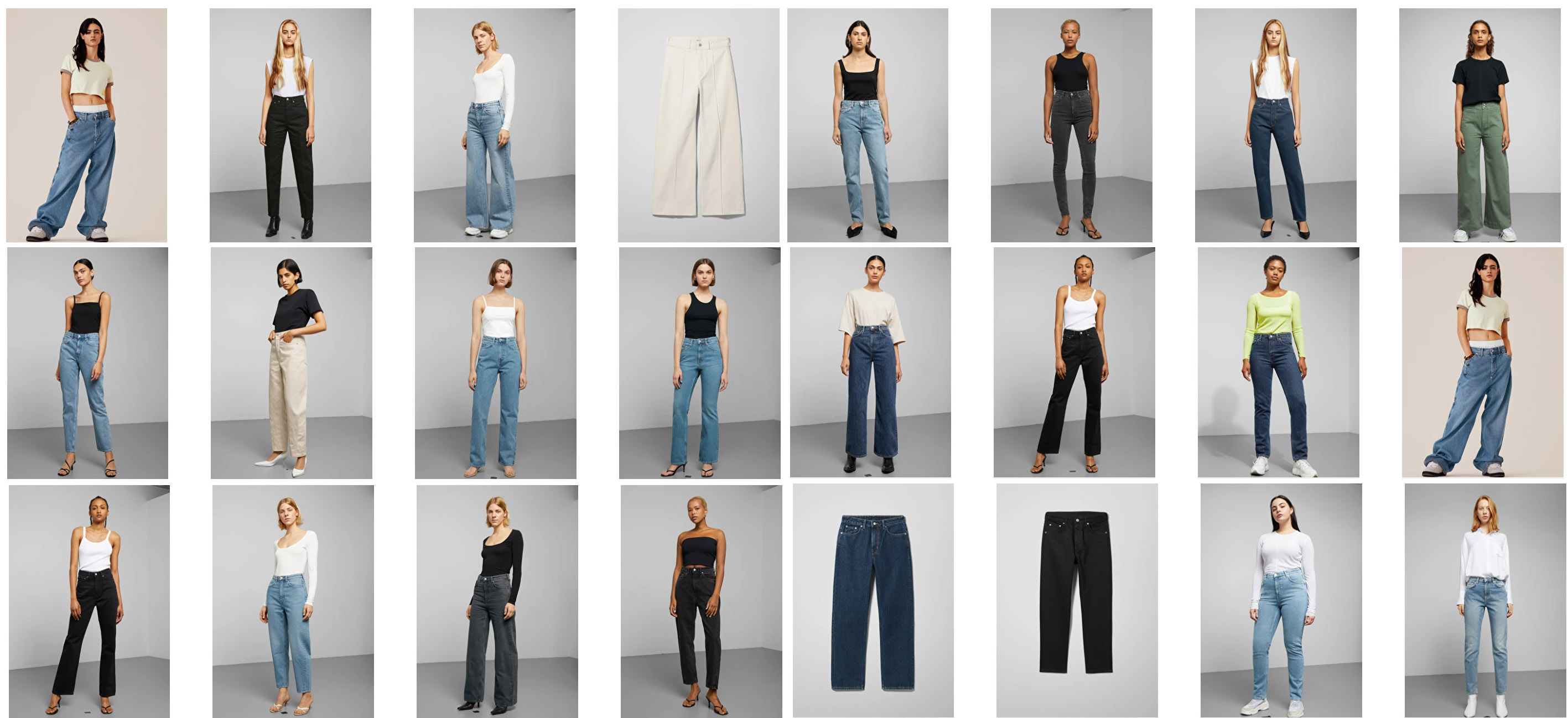 Some of the many denim styles available at H&M's Weekday stores.