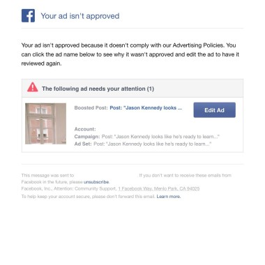 Facebook ad disapproved