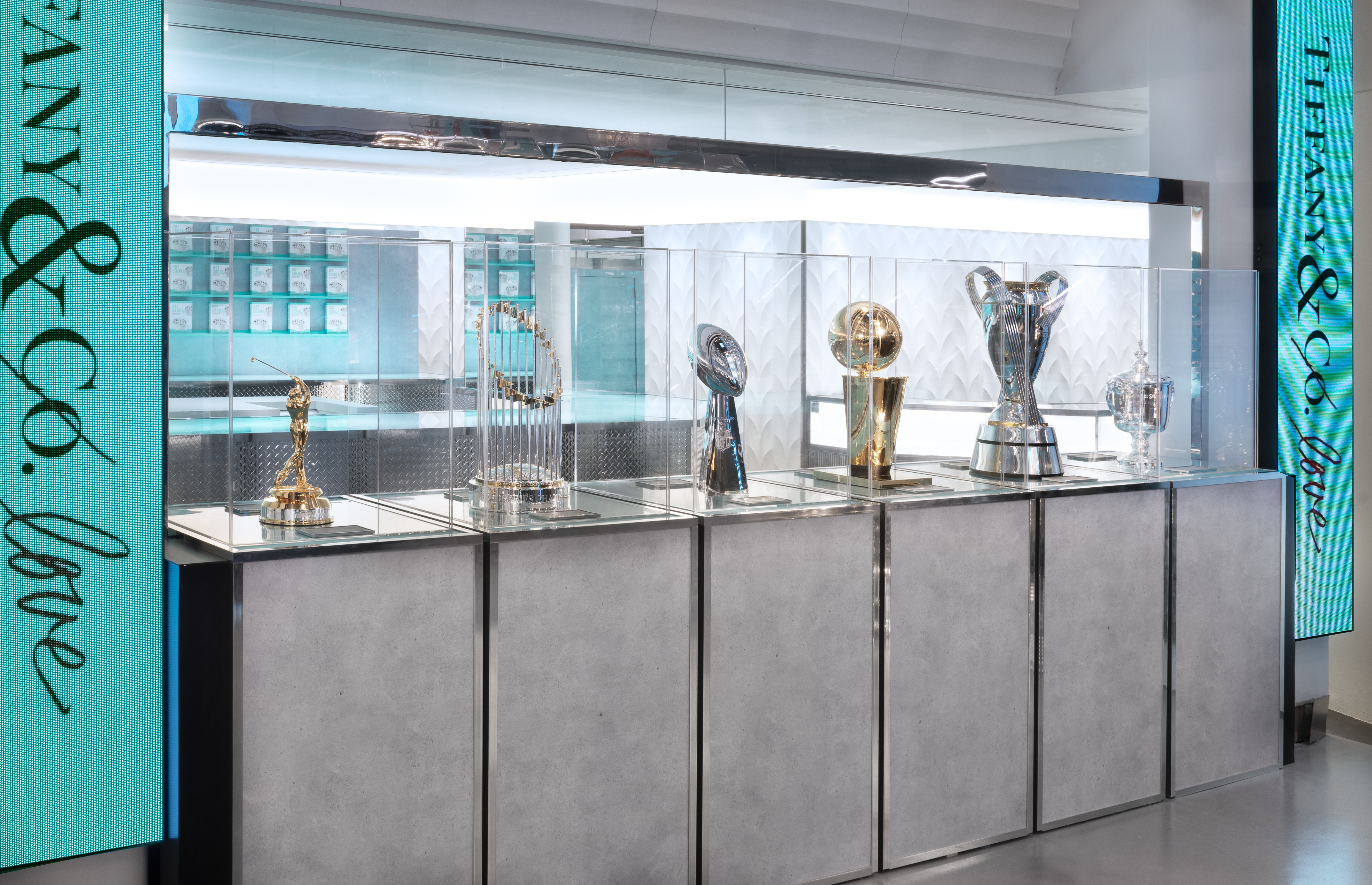 Trophies displayed at Tiffany's men's pop-up shop.