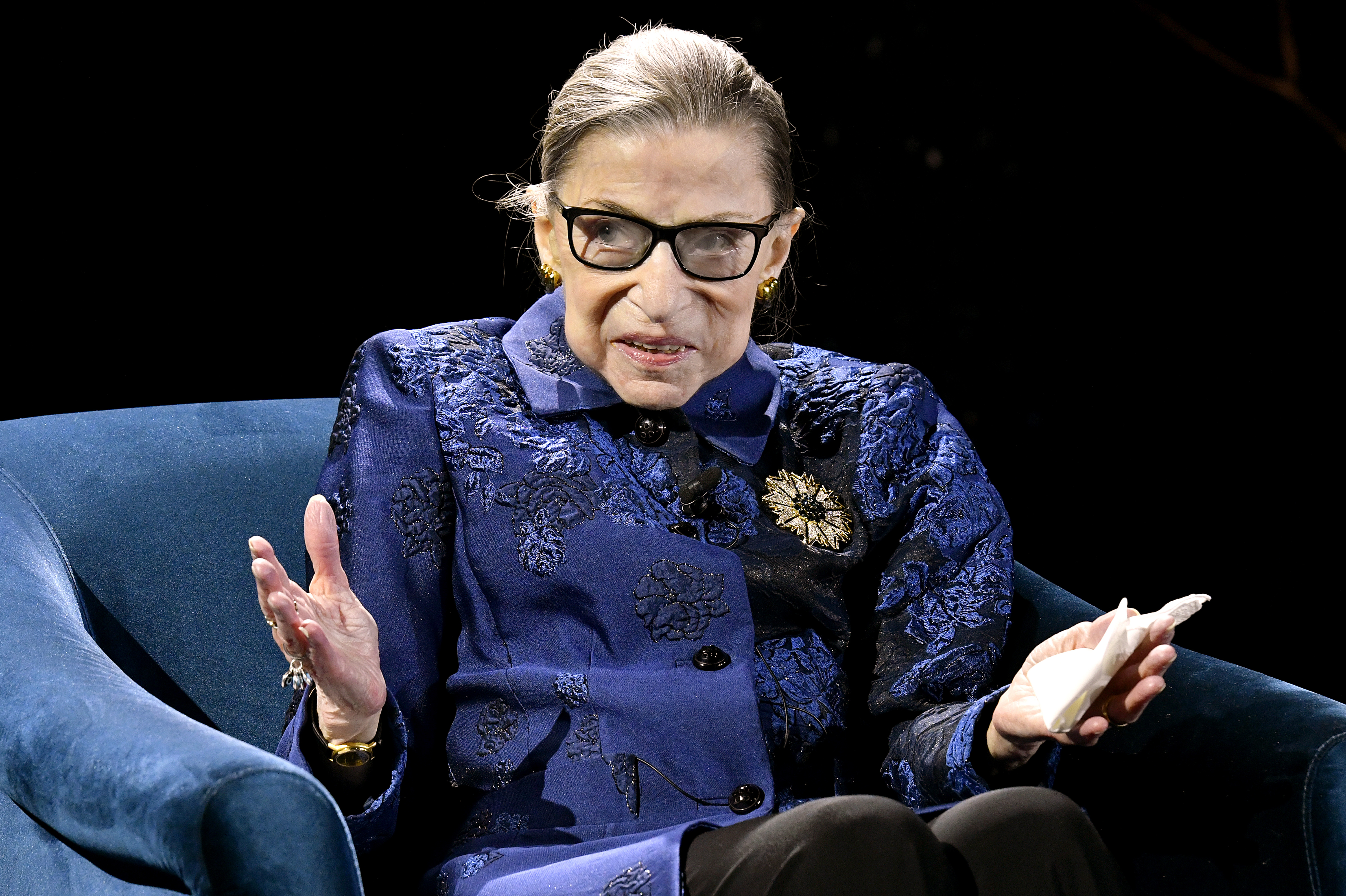 NEW YORK, NEW YORK - DECEMBER 16: Justice Ruth Bader Ginsburg speaks onstage at the Fourth Annual Berggruen Prize Gala celebrating 2019 Laureate Supreme Court Justice Ruth Bader Ginsburg In New York City on December 16, 2019 in New York City. (Photo by Eugene Gologursky/Getty Images for Berggruen Institute )
