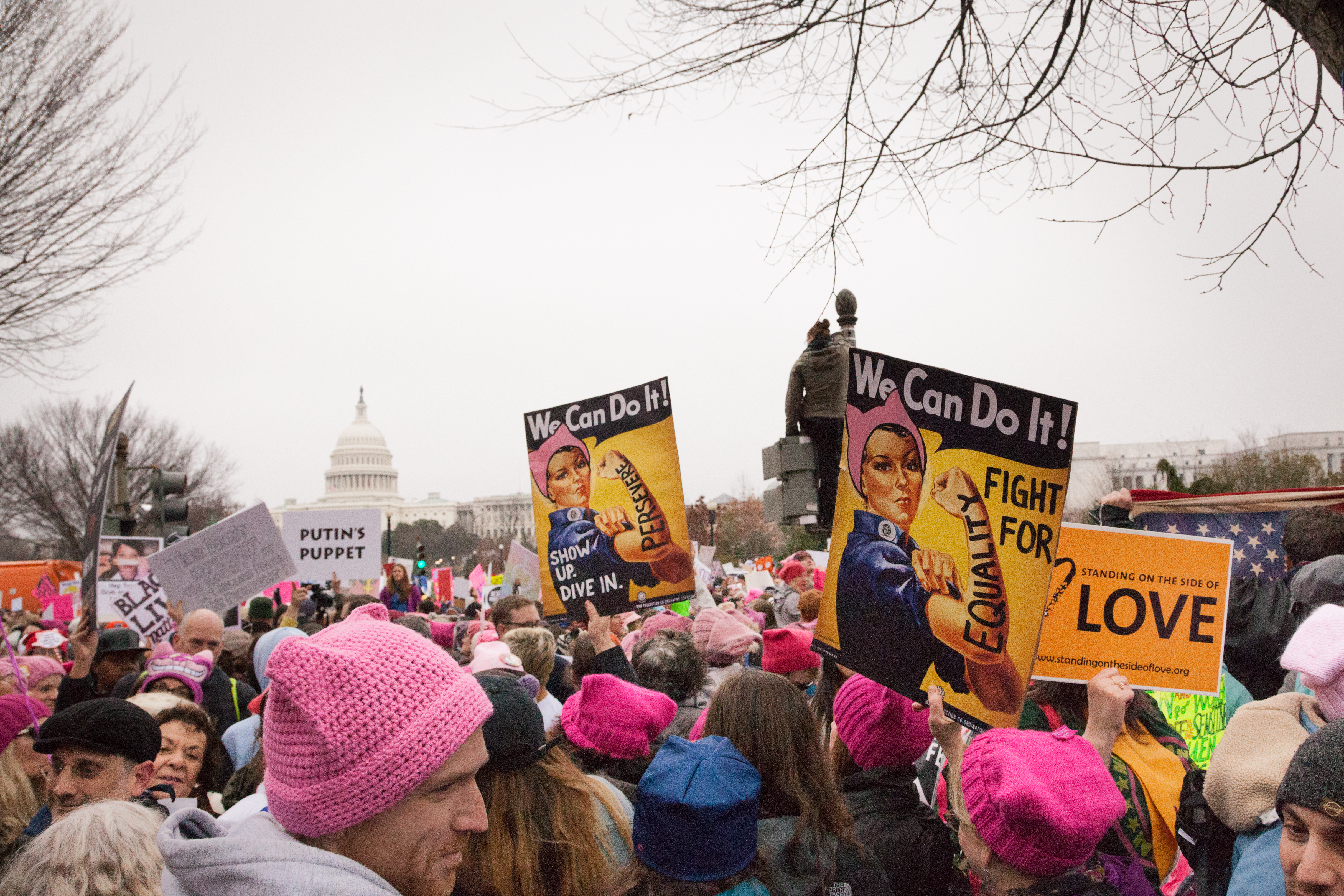 The pussy hat, a popular look at the national women's marches, is part of the new exhibition.