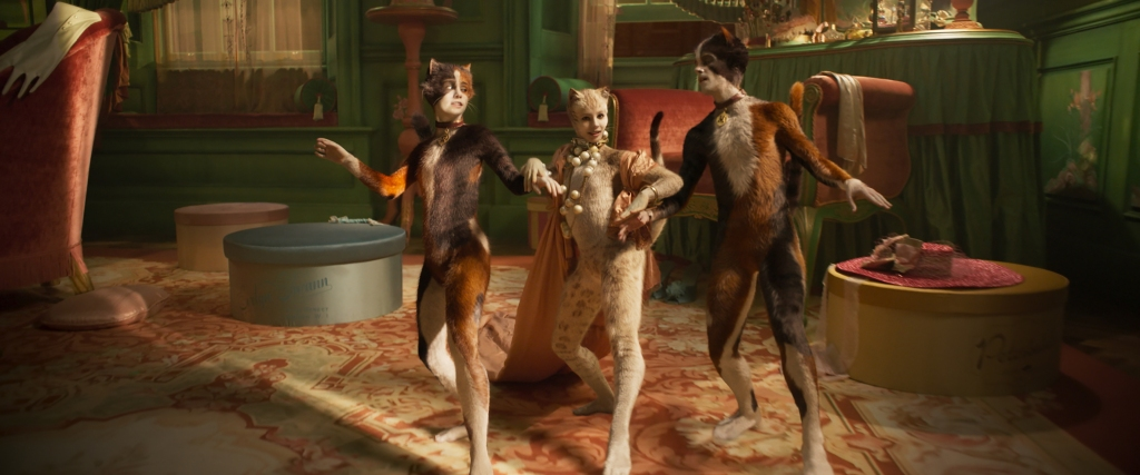 "(from left) Rumpleteazer (Naoimh Morgan), Victoria (Francesca Hayward) and Mungojerrie (Danny Collins) in ""Cats,"" co-written and directed by Tom Hooper."