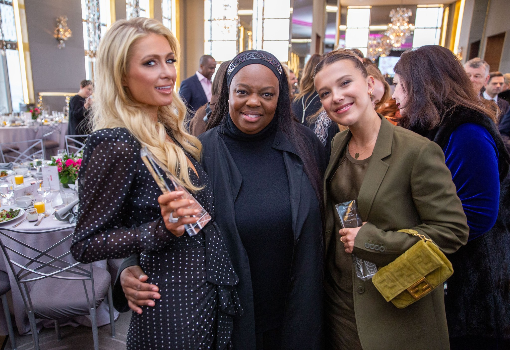 Paris Hilton, Pat McGrath and Millie Bobby Brown.