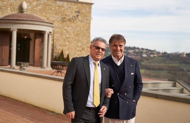 Brunello Cucinelli and Norcia's mayor Nicola Alemanno.