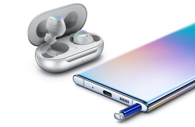 Shoppers have been eagerly awaiting the new version of Samsung's popular Galaxy Buds, here shown in silver alongside the Galaxy Note 10.