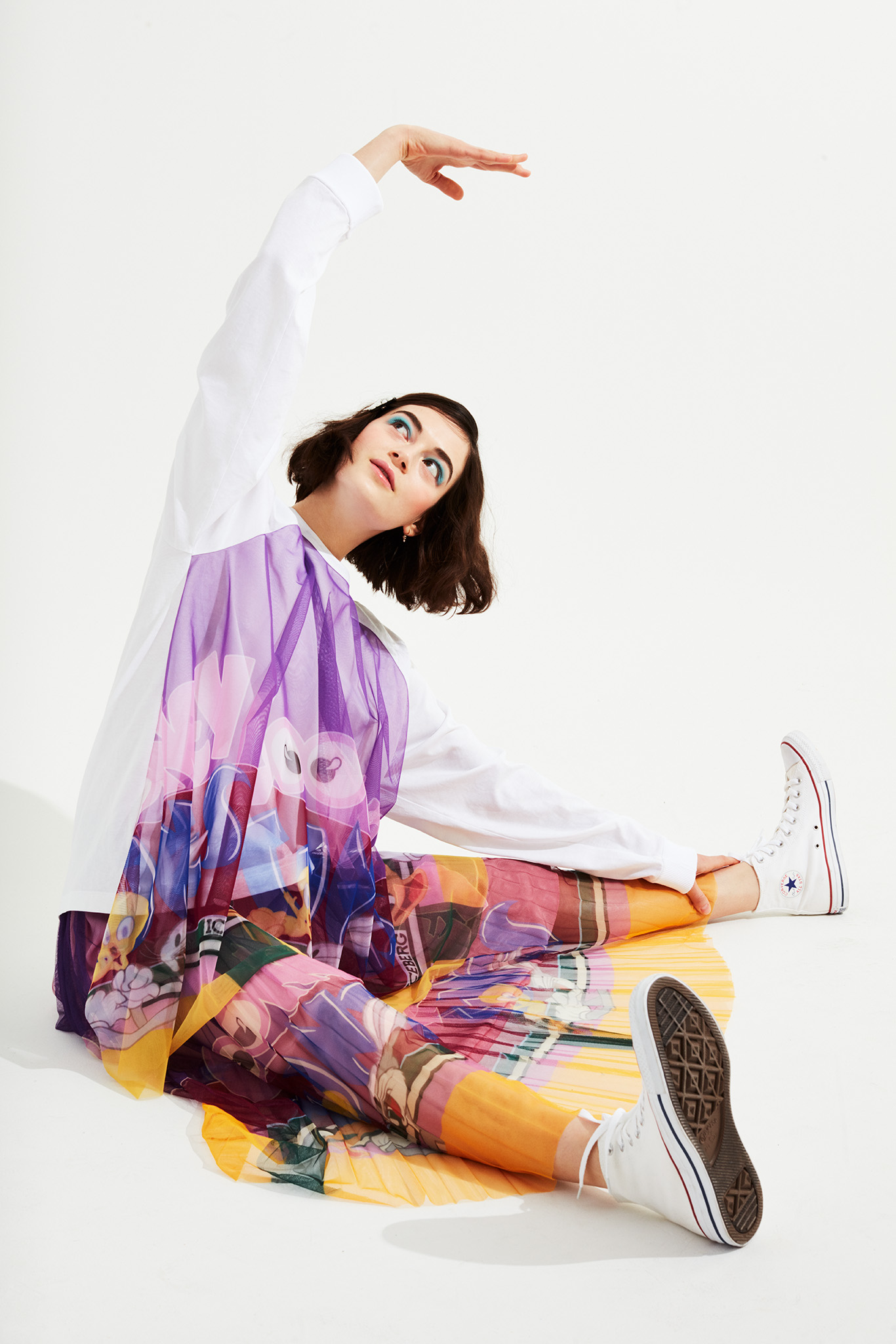 Iceberg's cotton and polyester top and polyester skirt. Asos hairclip; Converse shoes.