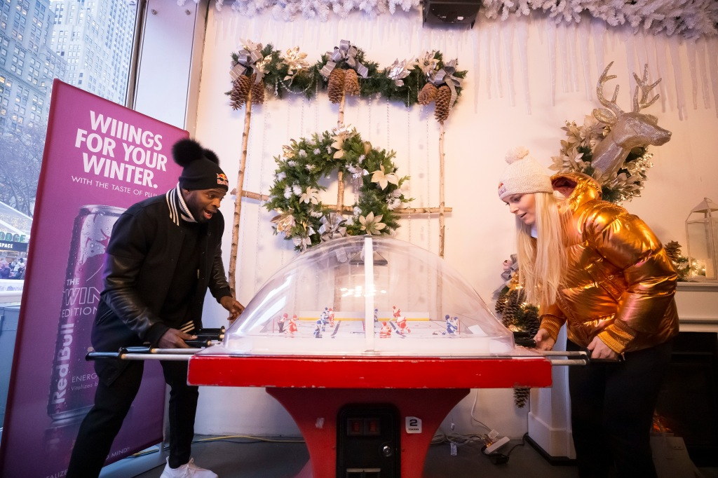 P.K. Subban and Lindsey Vonn face off on hockey fuzeball. He won.