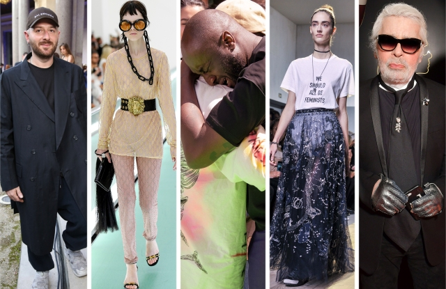 From Left: Demna Gvasalia, A look from Gucci, Kanye West and Virgil Abloh, A look from Dior, and Karl Lagerfeld.