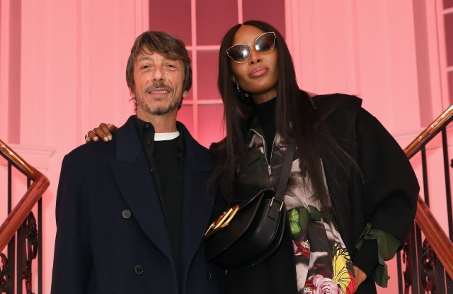 Pierpaolo Piccioli and Naomi Campbell attend A Magazine curated by Pierpaolo Piccioli launch cocktail at Galerie Thaddaeus Ropac.