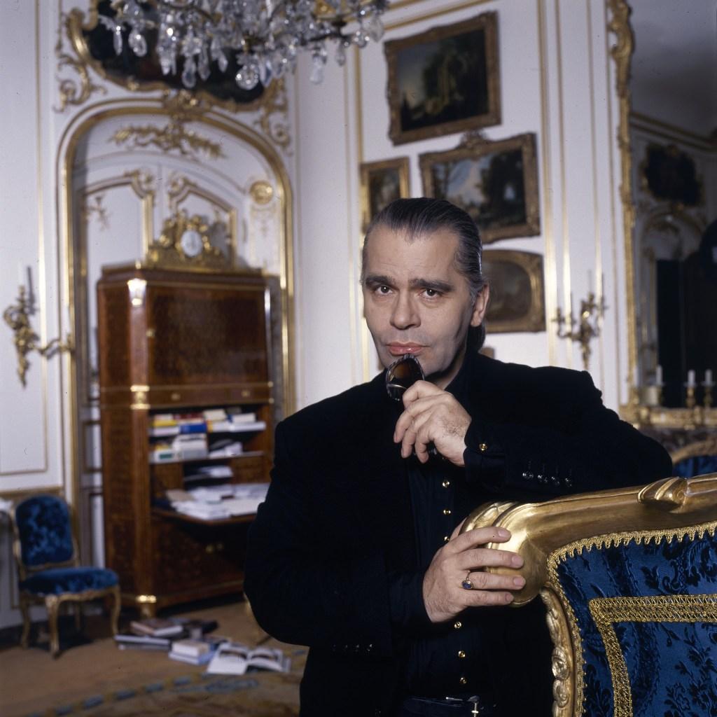 Karl Lagerfeld in his home in Monaco, 1988.