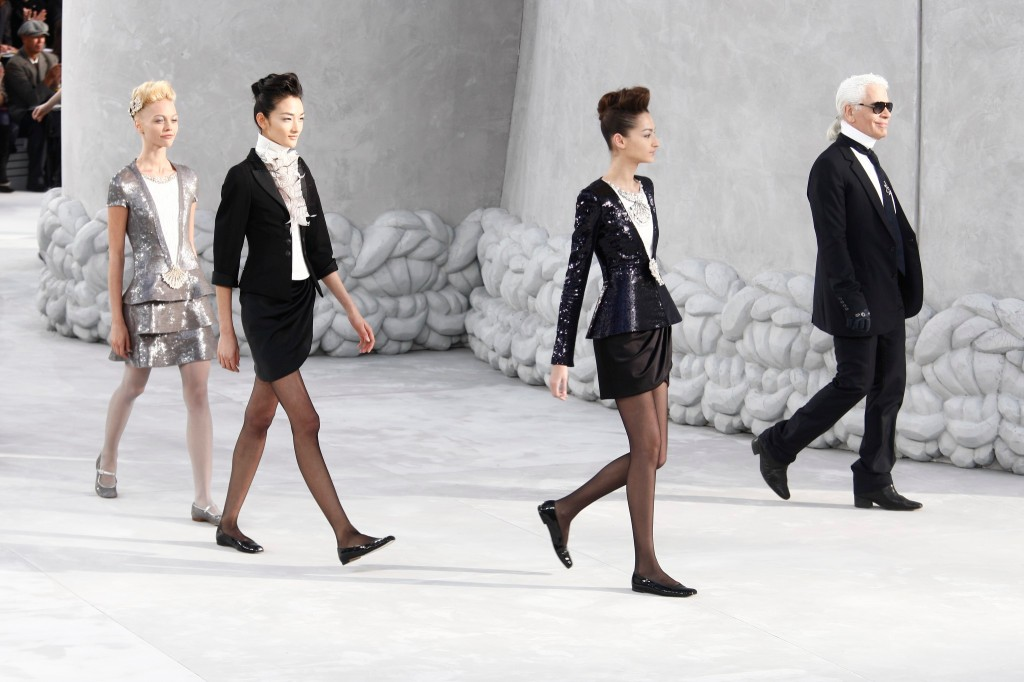 Karl Lagerfeld at Chanel's RTW Spring 2008 haute couture show at the Grand Palais in Paris.