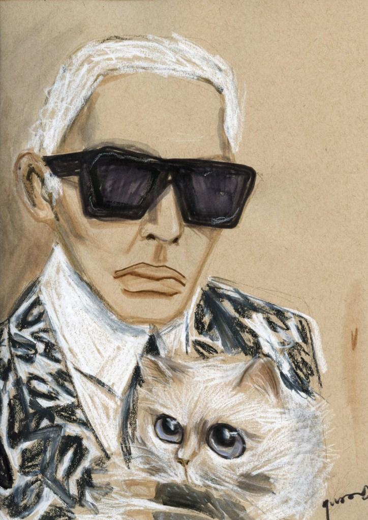 Karl Lagerfeld drawing by Yvan Deng