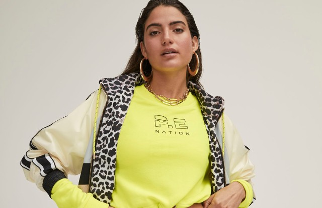 A look from the P.E. Nation x Kith exclusive collection.