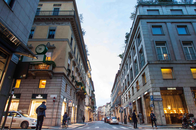 The Via Montenapoleone tony shopping thoroughfare.