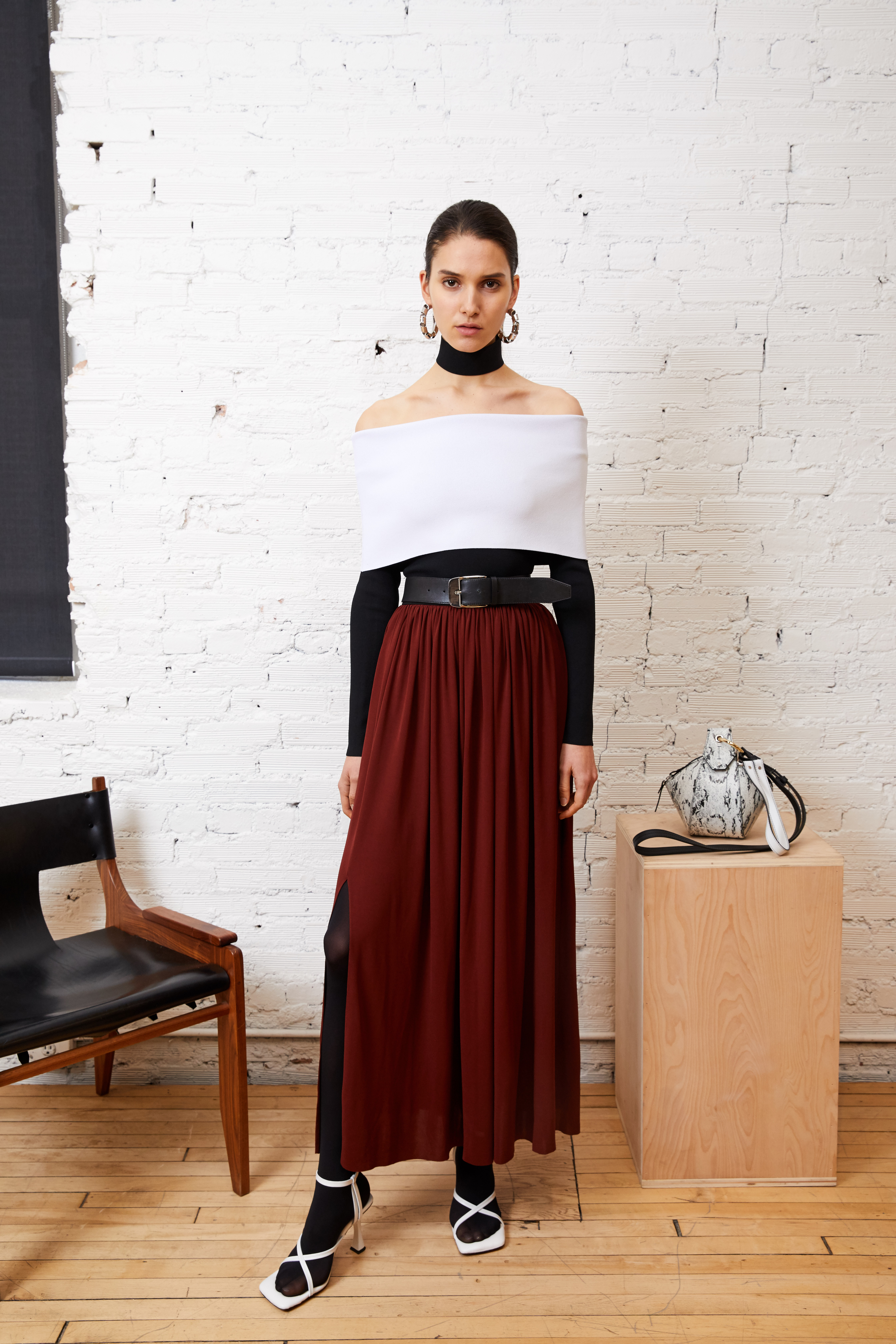 For pre-fall, bold and languid strokes combine in a textured knit top and jersey skirt.