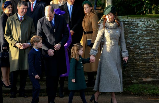 Britain's Prince William, Duke of Cambridge and Catherine, Duchess of Cambridge stand with their children Prince George and Princess Charlotte outside the St Mary Magdalene Church in Sandringham in Norfolk, EnglandRoyals Christmas, Sandringham, United Kingdom - 25 Dec 2019
