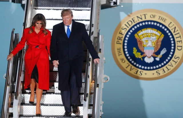U.S. President Donald Trump and U.S. first lady Melania Trump arrive at Stansted Airport in England,. US President Donald Trump will join other NATO heads of state at Buckingham Palace in London on Tuesday to mark the NATO Alliance's 70th birthdayNATO, Stansted, United Kingdom - 02 Dec 2019