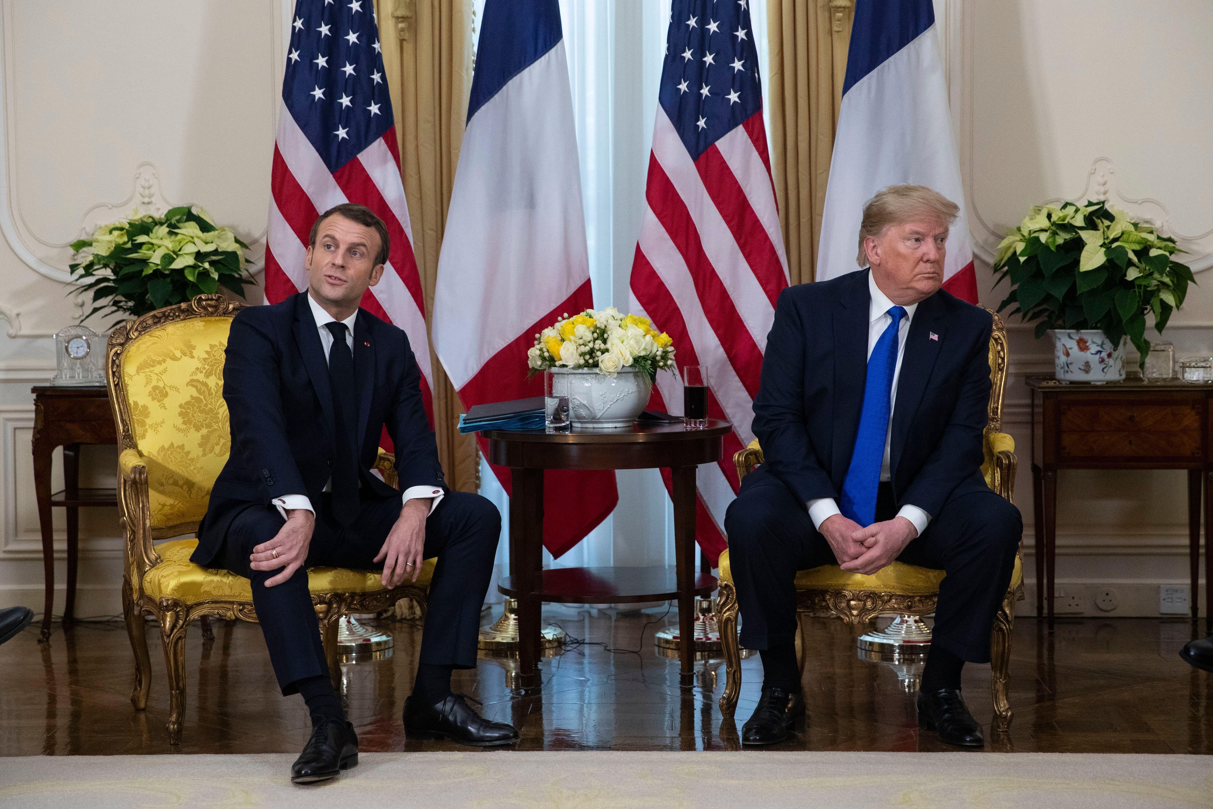 Donald Trump, Emmanuel Macron. President Donald Trump meets French President Emmanuel Macron at Winfield House during the NATO summit, in LondonNATO Trump, London, United Kingdom - 03 Dec 2019