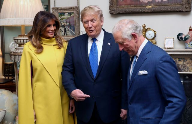 Britain's Prince Charles, right, poses for a photo with US President Donald Trump and first lady Melania, during a reception at Clarence House in London, . Leaders from across the 29-member trans-Atlantic alliance are gathered in London to mark its 70th anniversary of NATONATO, London, United Kingdom - 03 Dec 2019