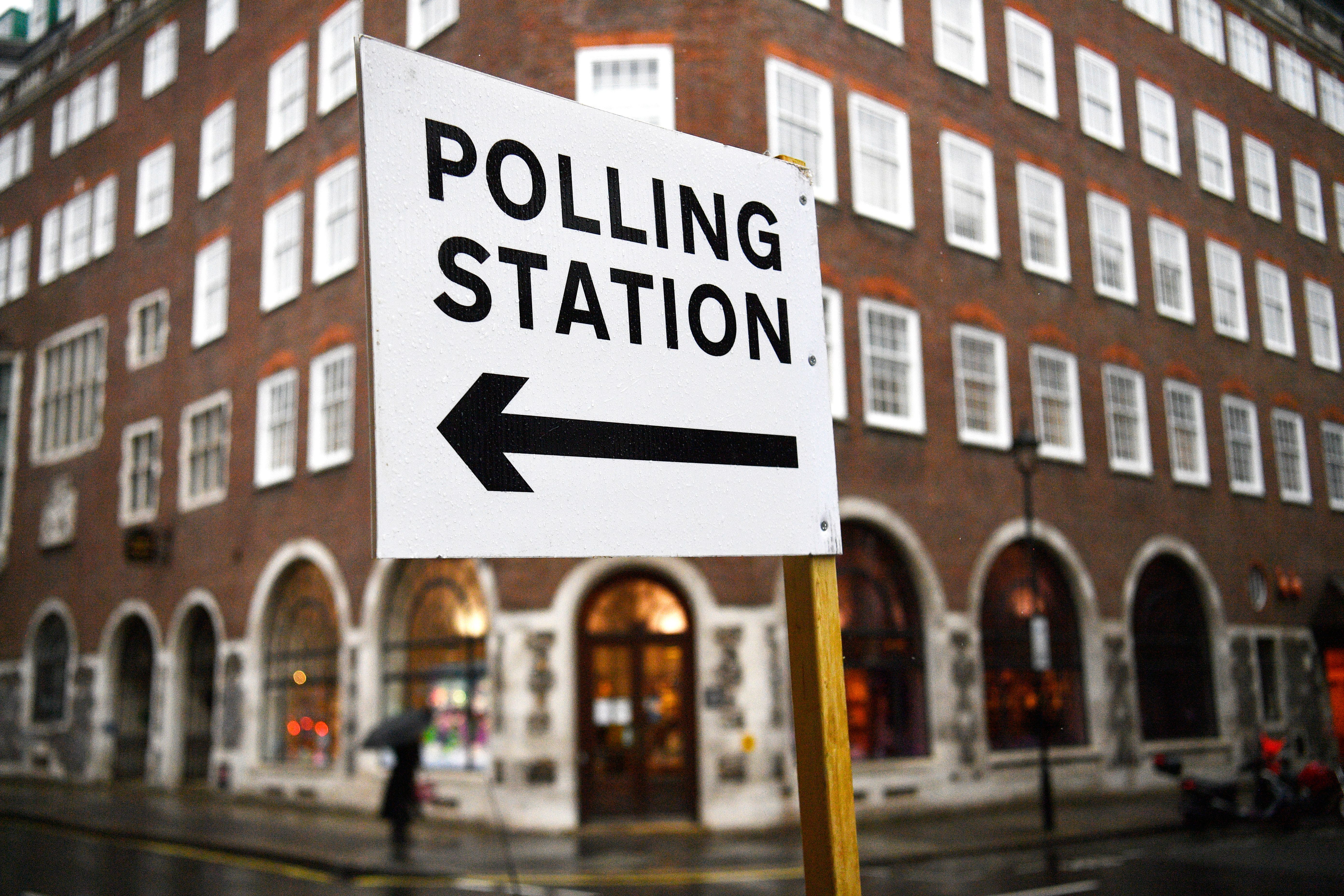 A polling station sign in London, Britain, 10 December 2019. Britons go to the polls on 12 December in a general election.Brexit Party General Election, London, United Kingdom - 10 Dec 2019