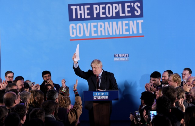 Prime Minister Boris Johnson delivers a victory speech to Tory party members, workers and activists, after winning the 2019 General Election at the Queen Elizabeth II Centre, London.General Election, Conservative Party Campaign Event, London, UK - 13 Dec 2019