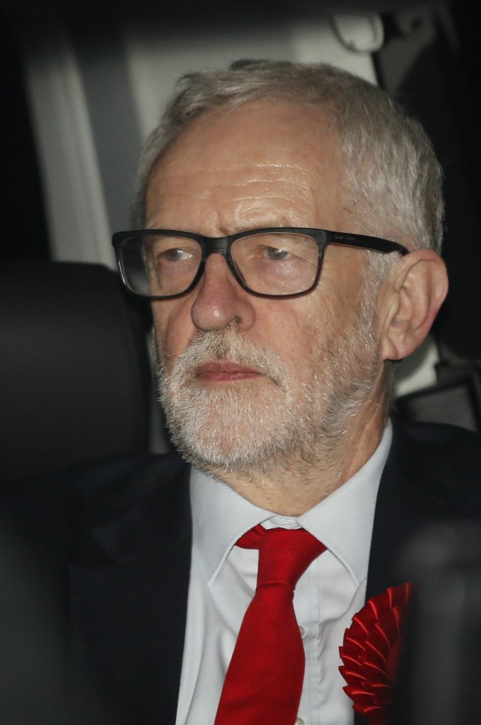 Labour Party Leader Jeremy Corbyn leaves party headquarters by the back door after the 2019 General Election results showed a majority for the Conservative Party. The Conservatives are predicted to win the election with a majority of 64 seats.Jeremy Corbyn leaves Labour party headquarters, London, UK - 13 Dec 2019