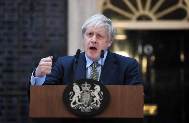 Boris Johnson delivers a speech outside Number 10 Downing StreetPrime Minister Boris Johnson in Downing Street, London, UK - 13 Dec 2019