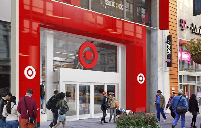 ورودی فروشگاه جدید Target در میدان هرالد نیویورک.