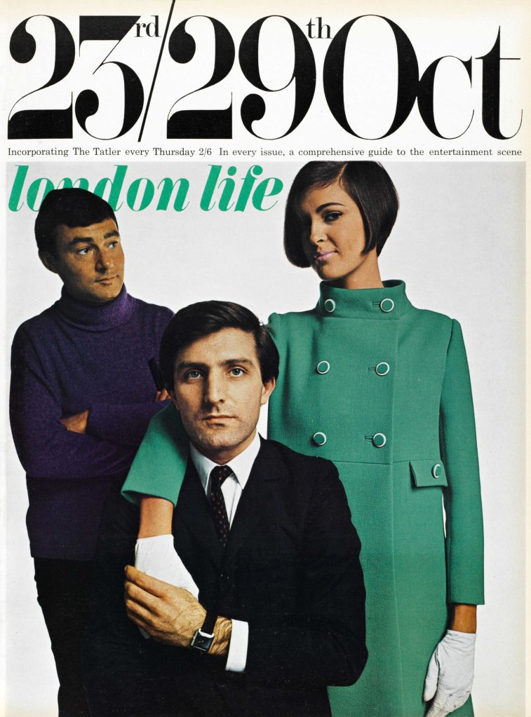 Front cover of London Life Magazine featuring Emanuel Ungaro, hairdresser Vidal Sassoon and a model. in a Ungaro Coat, 1965.