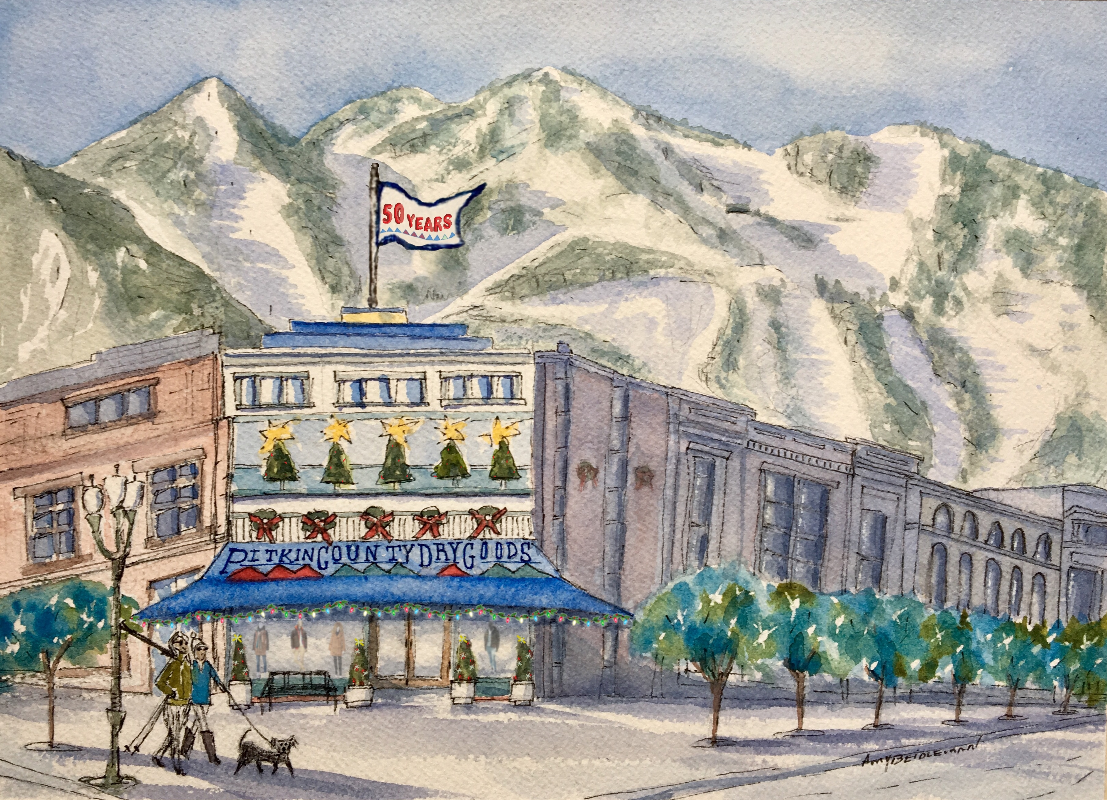 Artwork by local artist Amy Beidleman commemorating 50 years of Pitkin County Dry Goods.
