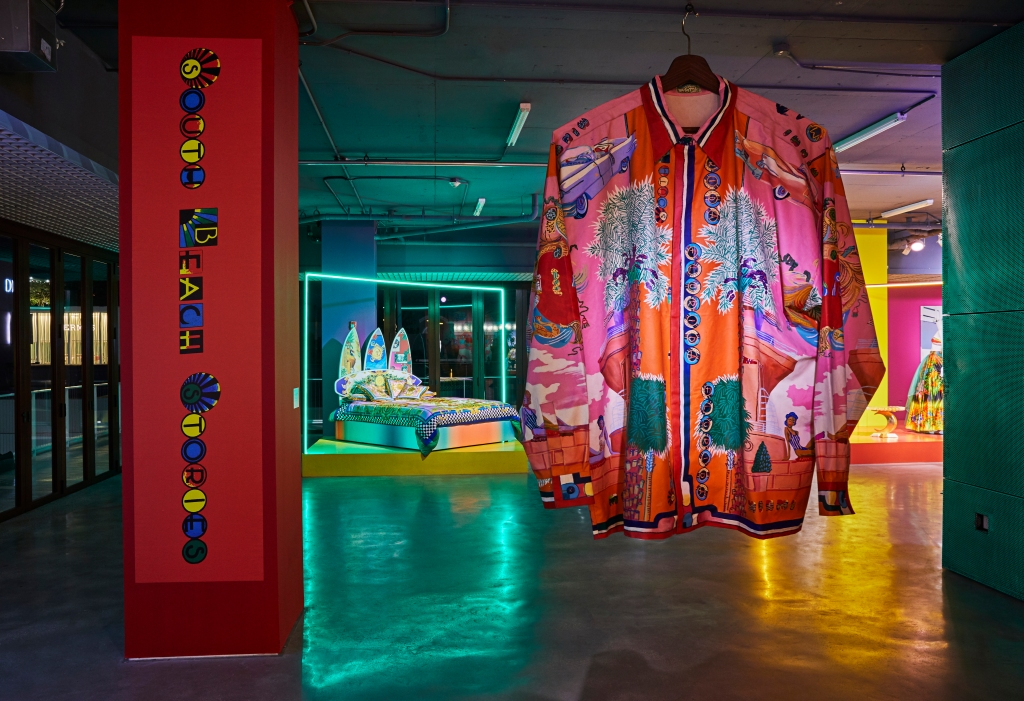 "Andy Dixon's large-scale Versace shirt displayed at the ""South Beach Stories"" exhibition."