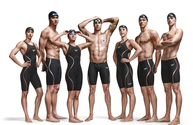 Some men's and women's Speedo swimsuits.
