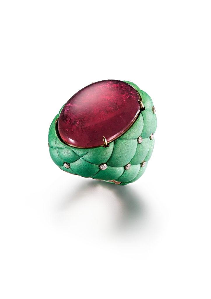 Suzanne Syz rubellite tourmaline and aluminum ring