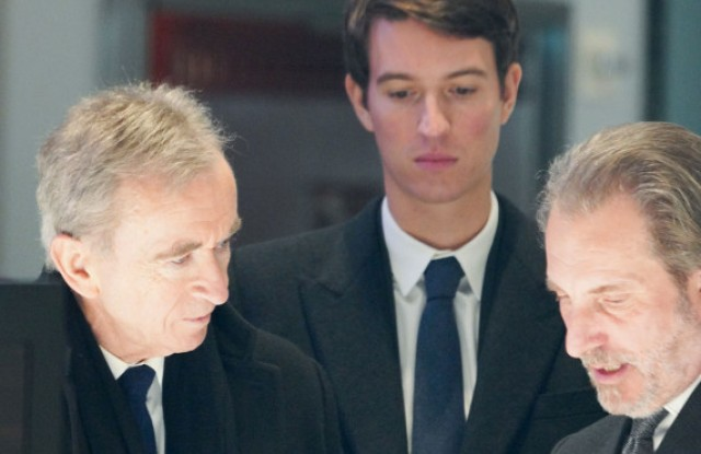 Bernard Arnault, Alexandre Arnault, and Tiffany CEO Alessandro Bogliolo
