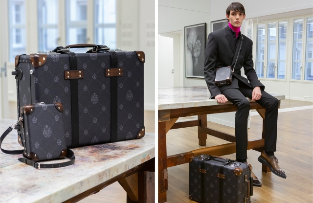 Left: A suitcase and messenger bag from Berluti's collaboration with Globe-Trotter, featuring the brand's new Signature canvas.Right: A look from Berluti's fall collection, with items from its collaboration with Globe-Trotter featuring the brand's new Signature canvas.