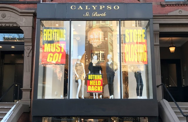 Calypso St. Barth store on Newbury St. in Boston is among 16 locations participating in going-out-of-business sale. (PRNewsfoto/Tiger Group)