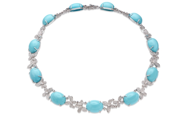 De Simone turquoise and diamond Butterfly necklace