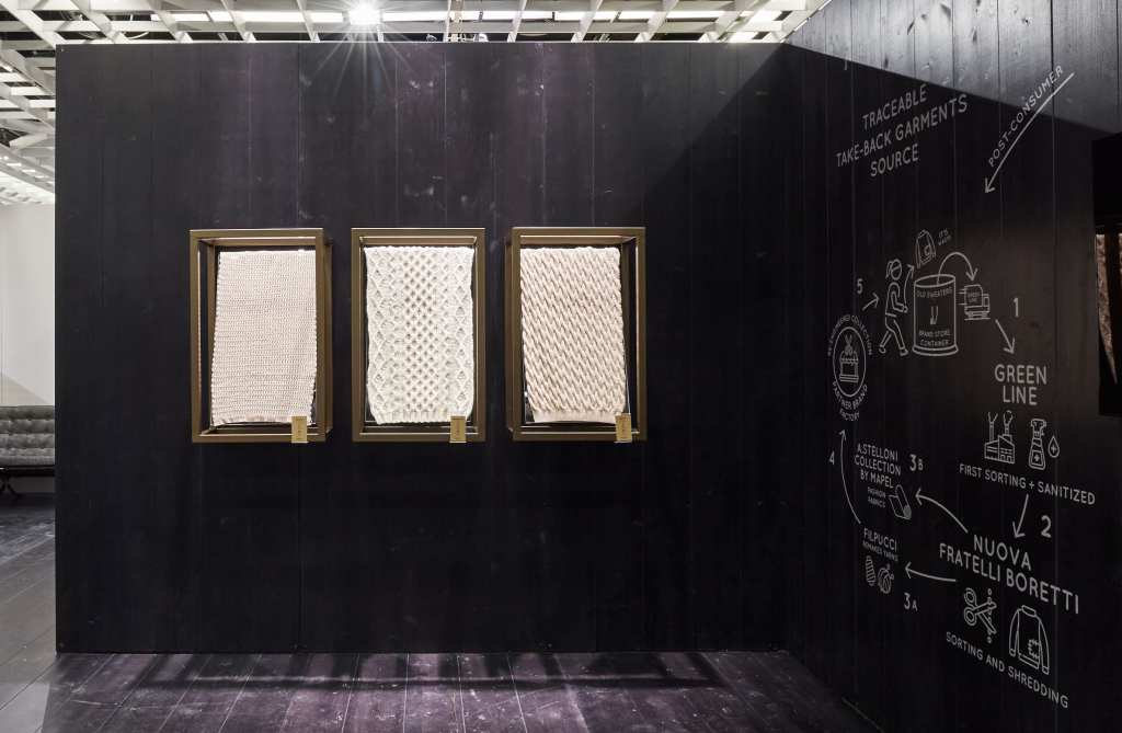 The area dedicated to the new the Re.VerSo Take Back program showcased at Filpucci's stand.