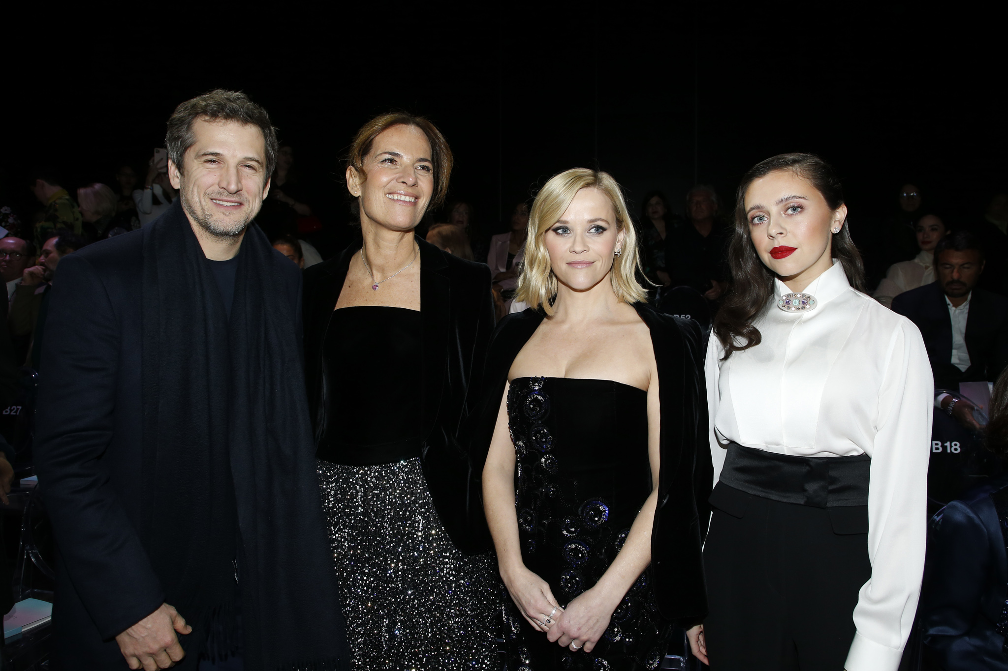 Guillaume Canet, Roberta Armani, Reese Witherspoon and Bel Powley in the front row
