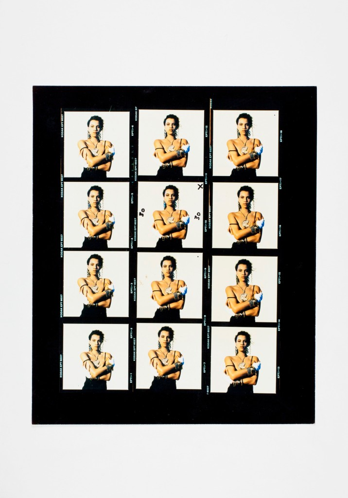 """The contact sheet for Neneh Cherry's """"Raw Like Sushi"""" album cover."""